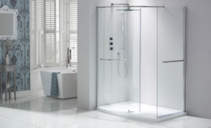 bathroom glass partition in office or home